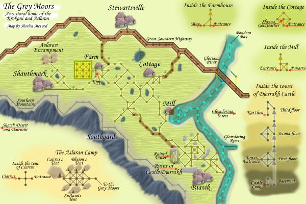 A map of the Grey Moors, an area in Lusternia.