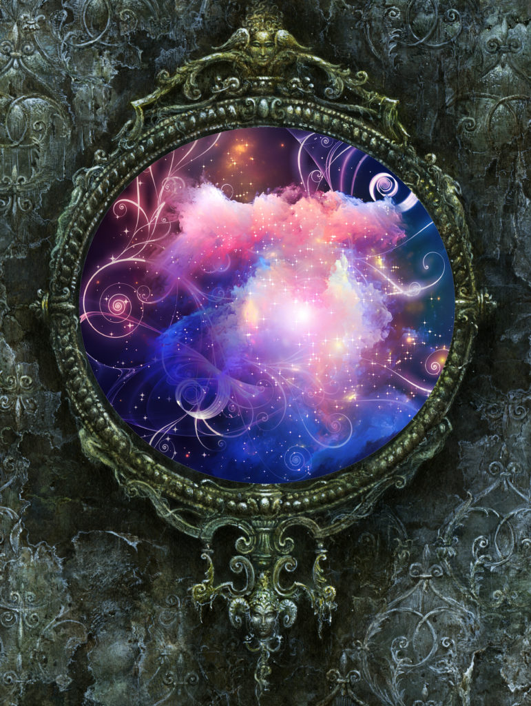 An ornate round frame surrounds the image of sparkling purple and pink clouds. The frame is resting upon a stony grey background.