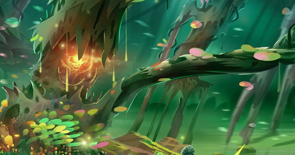 A painted artwork of creeper vines amidst a forest backdrop.