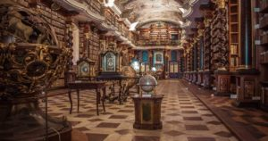 A library with many tall bookcases