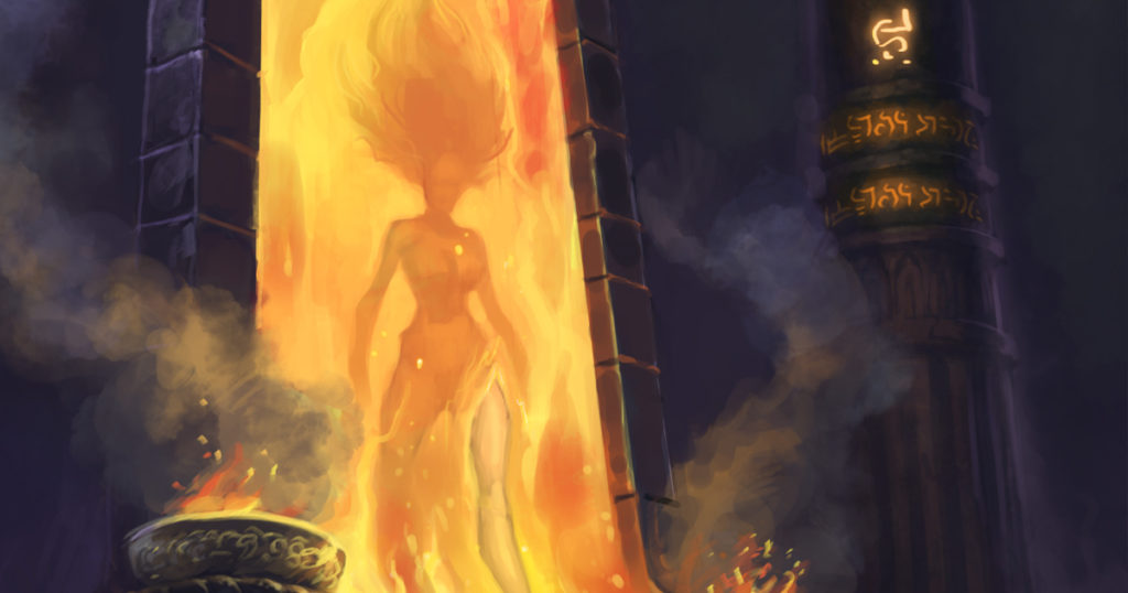 A woman steps out of a fiery portal
