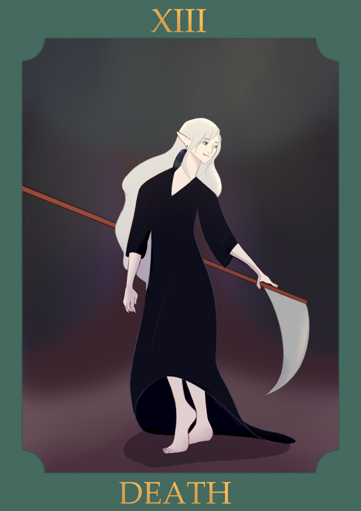 Death, by Esei. Stylised as a tarot card, this artwork is of the Goddess Viravain. It depicts Viravain, a female Divine with white hair and a black robe, wielding a scythe. It is framed by a green border that reads: XIII - Death.