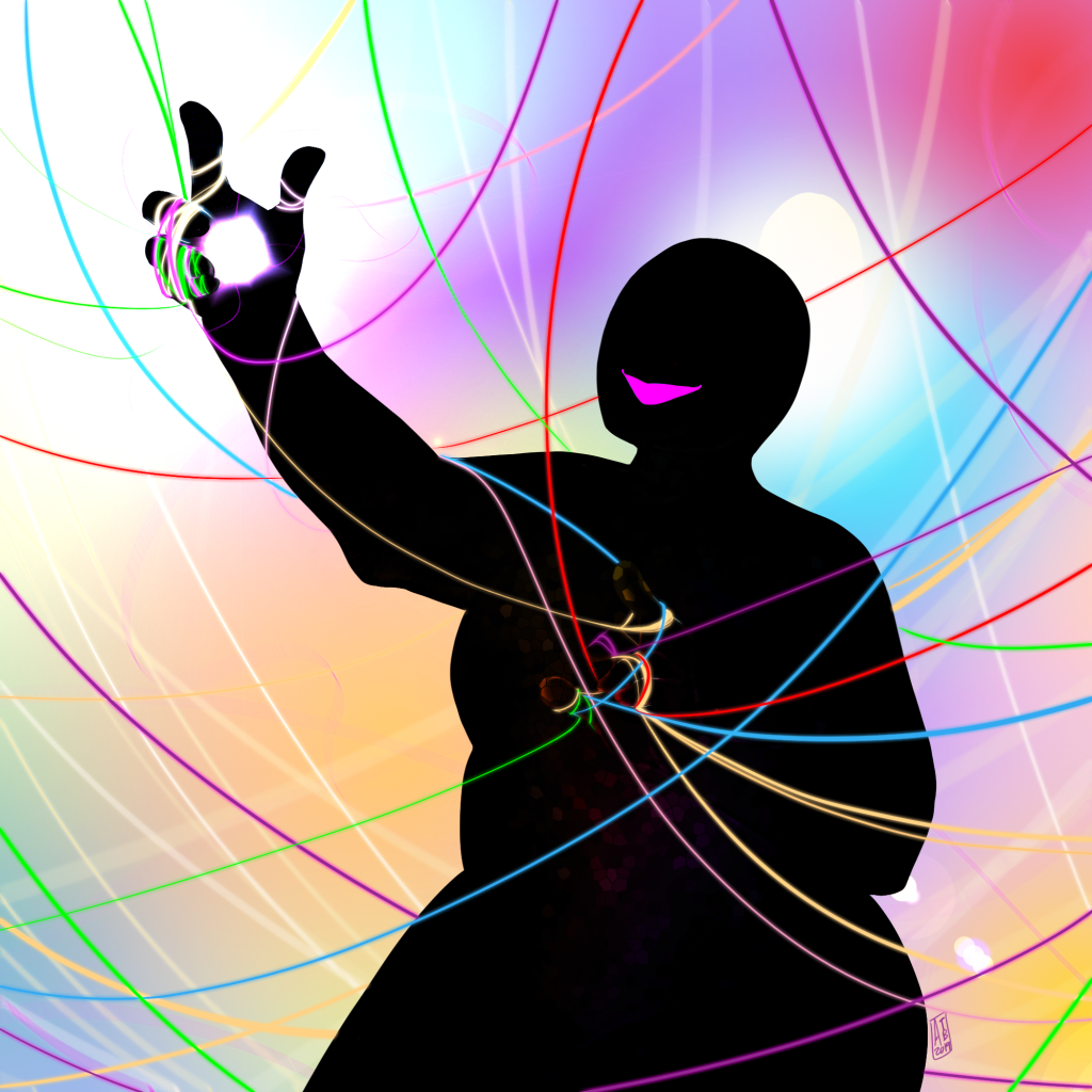 Aonia is depicted against a rainbow coloured background. She is just a silhouette, a fat female figure with a bright pink smile. Threads of every colour are woven around her, her fingers tangled as she manipulates them.