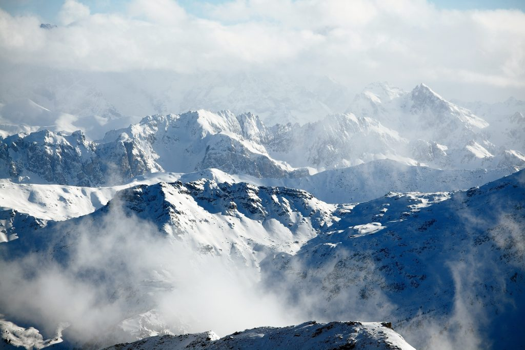 Cloud-shrouded mountain peaks