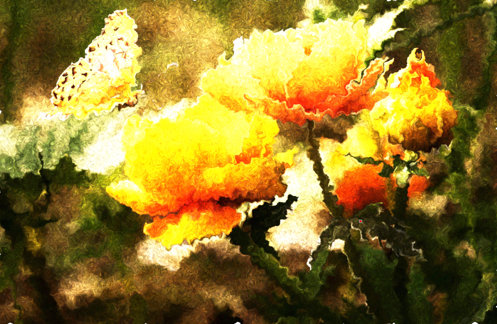 A distorted image of yellow flowers with a butterfly