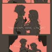 """An Unexpected Visit, by Gurashi. This Artisanal is a comic depicting Gurashi, a player character, and the NPC Duethielle. The text of the comic reads: """"Thank you for the dance."""" - """"You were hurt, scared, in the dark."""" - """"I know you will be okay..."""""""