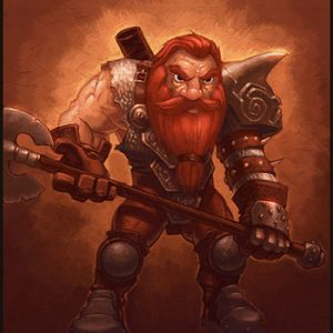 Official image of a Dwarf from Lusternia. The dwarf has a thick red beard and a battleaxe.