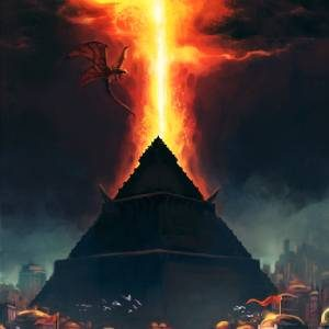 Against a dark sky, a pyramid stands tall, its peak aflame.