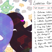 A background created for the Lusternia Development livestream on the 12th Sept. There is art of Orael and Aonia by Gurashi on the lefthand side. On the right hand side, there is a list that reads: Lusternia Dev Roadmap. Top secret - do not leak! 1. Release cabbage design patterns. 2. Lore integration with all IRE games. 3. Delete Kethuru. 4. Install Squibbles AI + activate. 5. Look at library code [this is crossed out]. 5. Fire the Twitter gremline who last made a typo. 6. Delete the word 'effulgent' from all designs. 7. Take a nap. 8. Make 'lmao' emote an alias for heartstop. 9. Dye all nexii lime green. 10. Make Oreo double stuffed. The list is surrounded by childlike drawings.