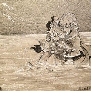 An Artisanal artwork of Tridemon and Cheliyi exploring the Nexus World of Celest, by Gurashi.