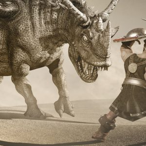 Two warriors stand in battle against a huge monster.