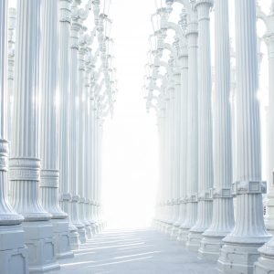 An empty space with white columns