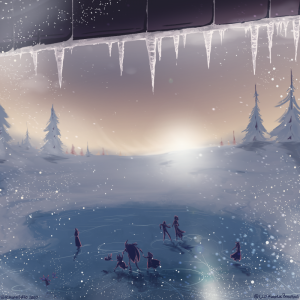 An Artisanal artwork of an icy pond amid the snowy drifts of Solstice Court, by Gurashi.