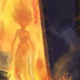 A woman steps out of a fiery portal