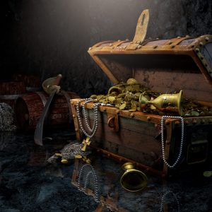 An open treasure chest, treasures within