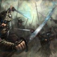A battlefield with sword-wielding warriors