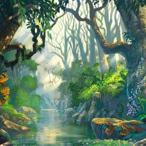 An artwork of a river through a lush jungle.